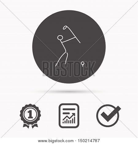 Golf club icon. Golfing sport sign. Professional equipment symbol. Report document, winner award and tick. Round circle button with icon. Vector