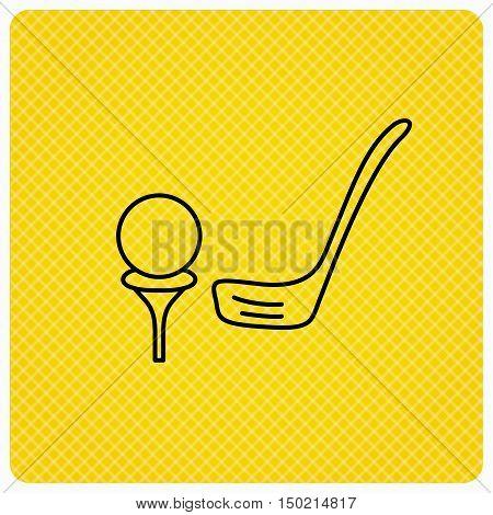 Golf club icon. Golfing sport sign. Professional equipment symbol. Linear icon on orange background. Vector