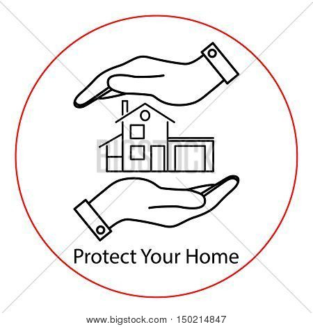 Icon house in hands. Vector illustration for protection, construction, sale, purchase or other use.