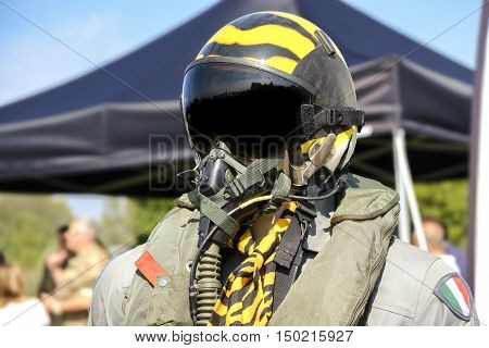 aviation military pilot helmet aeronautical uniform yellow