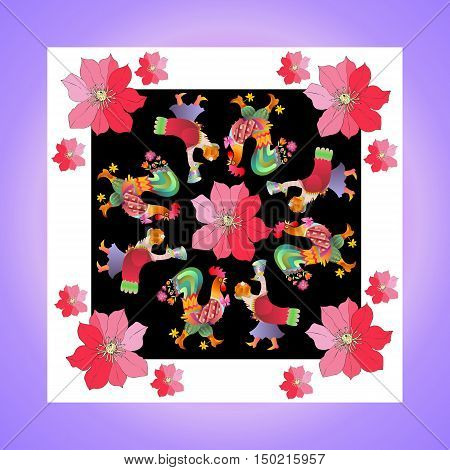 Lovely tablecloth or kerchief. Bandana print or silk neck scarf with beautiful ornament from flowers and fairy birds. Vector illustration. Year of the rooster.