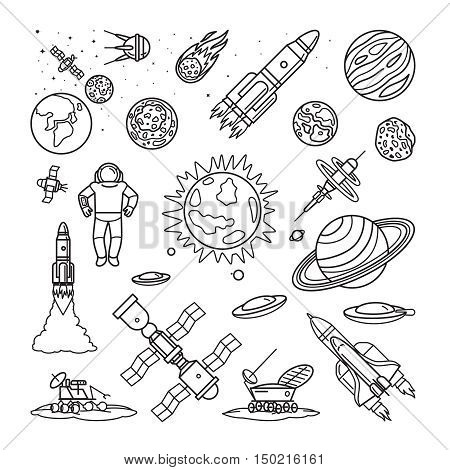 Space doodle linear icons. Vector planets, rockets, earth and astronaut cartoon hand drawn signs