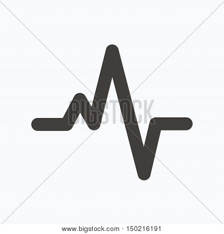 Heartbeat icon. Cardiology symbol. Medical pressure sign. Gray flat web icon on white background. Vector