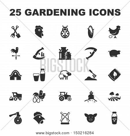 farm, gardening 25 black simple icons set for web design