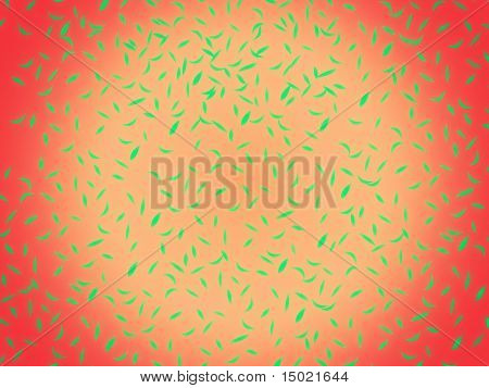 abstract green leaves on red