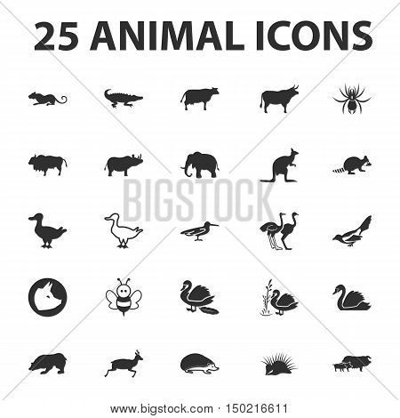 animal and beast 25 black simple icons set for web design