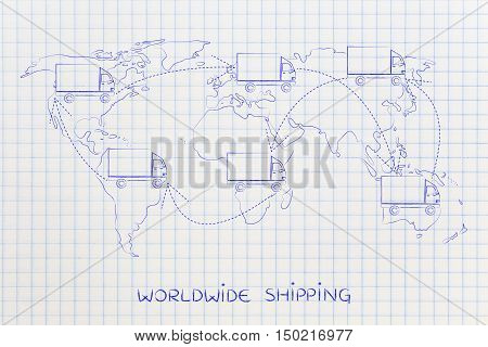 Movers Or Delivery Truck Moving Above Map Of The World