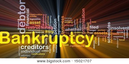Word cloud concept illustration of financial bankruptcy glowing light effect