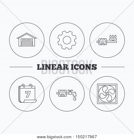 Ventilation, garage and water counter icons. Gas counter linear sign. Flat cogwheel and calendar symbols. Linear icons in circle buttons. Vector