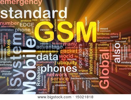 Word cloud concept illustration of phone GSM glowing light effect