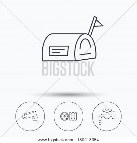 Water supply, video camera and mailbox icons. Radiator with regulator linear sign. Linear icons in circle buttons. Flat web symbols. Vector
