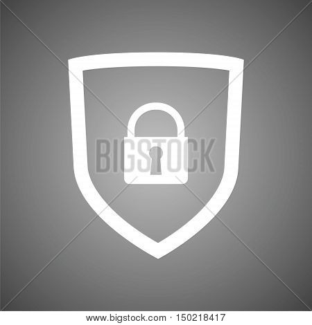 Web security icon shield on gray background