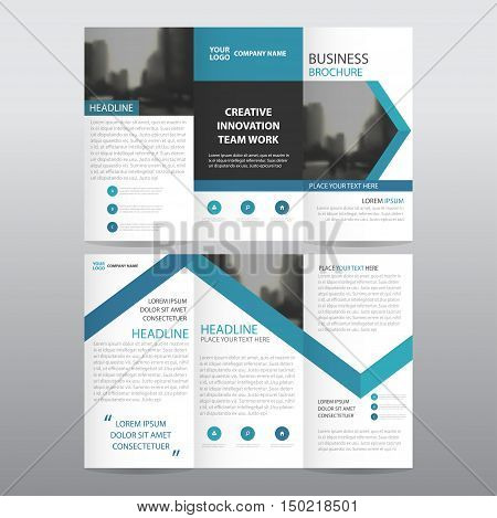 Blue arrow business trifold Leaflet Brochure Flyer report template vector minimal flat design set abstract three fold presentation layout templates a4 size