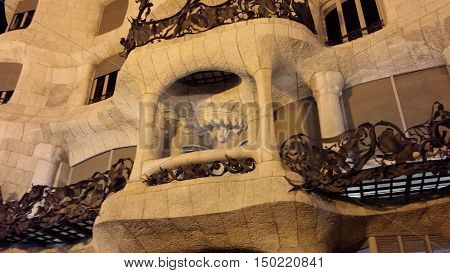 Barcelona, Spain - June 24, 2016: Illuminated facade of Casa Mila at night