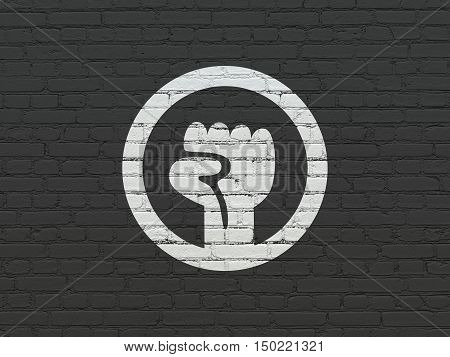 Politics concept: Painted white Uprising icon on Black Brick wall background