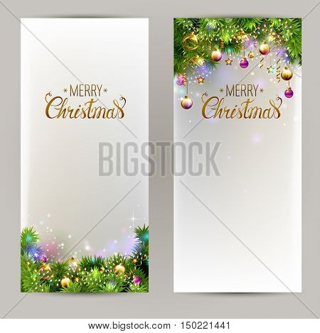 set of two elegant Christmas backgrounds with evening balls and fir-trees branches