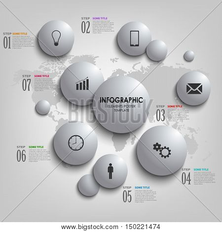 Info graphic with abstract grey bubbles template vector eps 10