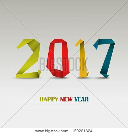 New Year card with abstract colored folded paper template vector eps 10