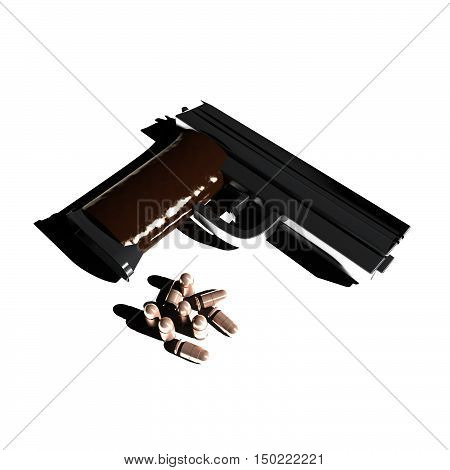 Pistol And Bullets In Dramatic Light