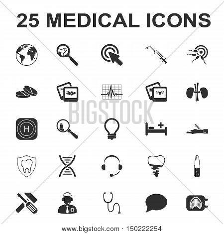 medicine, care, hospital 25 black simple icons set for web design