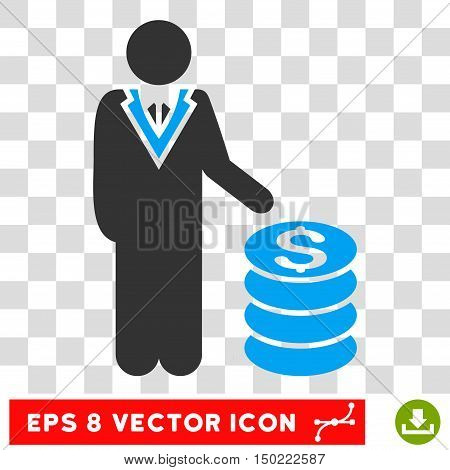Businessman vector icon. Image style is a flat blue and gray pictogram symbol.