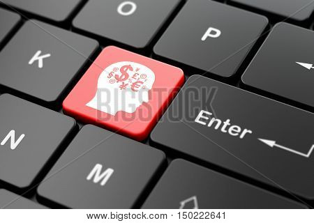 Education concept: computer keyboard with Head With Finance Symbol icon on enter button background, 3D rendering