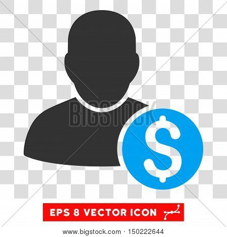 Businessman vector icon. Image style is a flat blue and gray iconic symbol.