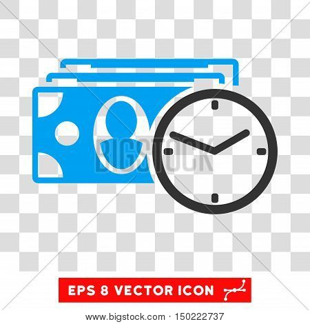 Cash Credit vector icon. Image style is a flat blue and gray icon symbol.