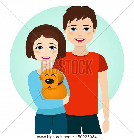 Boy and girl brothers with dog. Vector illustration. Brother and sister with animal.