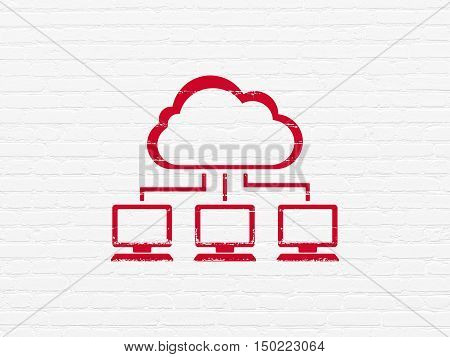 Cloud networking concept: Painted red Cloud Network icon on White Brick wall background