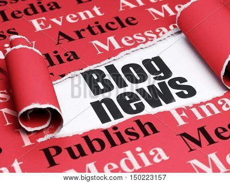 News concept: black text Blog News under the curled piece of Red torn paper with  Tag Cloud, 3D rendering