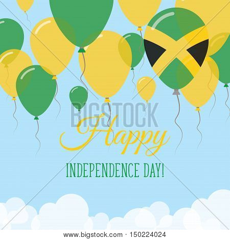 Jamaica Independence Day Flat Greeting Card. Flying Rubber Balloons In Colors Of The Jamaican Flag.