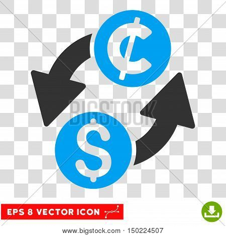 Dollar Cent Exchange vector icon. Image style is a flat blue and gray pictograph symbol.