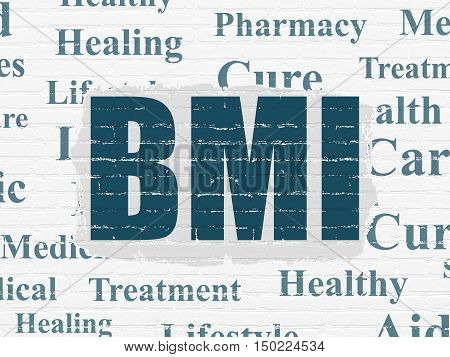 Healthcare concept: Painted blue text BMI on White Brick wall background with  Tag Cloud