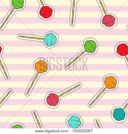Candy Lollipop Art Stitch Patch Background