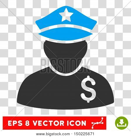 Financial Policeman vector icon. Image style is a flat blue and gray pictogram symbol.