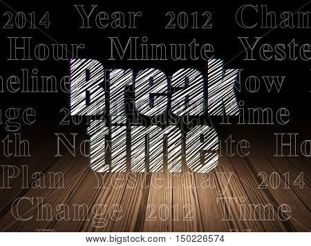 Time concept: Glowing text Break Time in grunge dark room with Wooden Floor, black background with  Tag Cloud