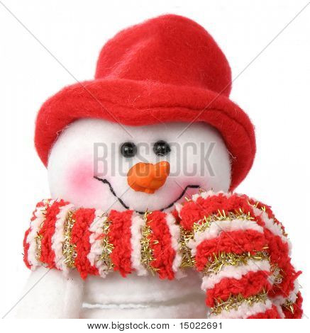 Smiling snow man face in the red cap and scarf