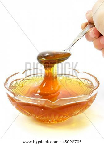 bee honey  in a crystal saucer isolated object on a white background with clipping path included