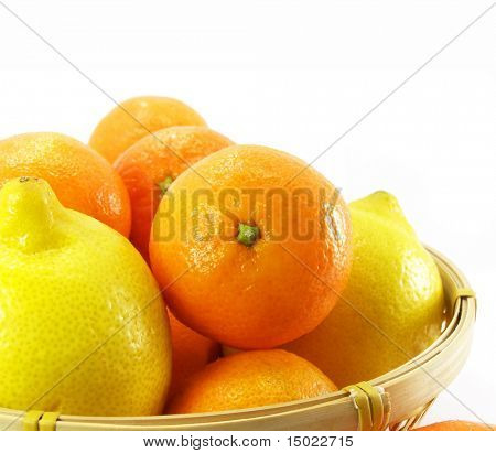 Ripe by mandarin orange tropic fruit isolated over white background