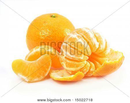Ripe by mandarin orange tropic fruit isolated over white background