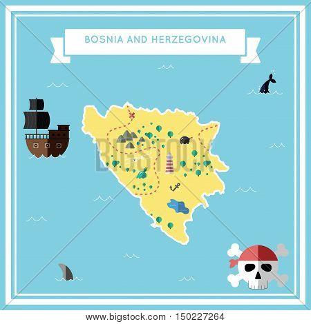 Flat Treasure Map Of Bosnia And Herzegovina. Colorful Cartoon With Icons Of Ship, Jolly Roger, Treas