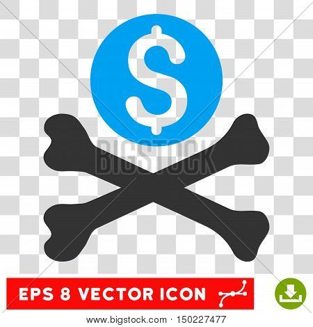 Mortal Debt vector icon. Image style is a flat blue and gray pictogram symbol.
