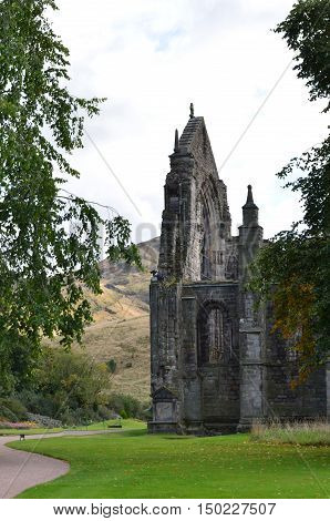 Ruins of Holyrood Abbey at the base of Arthur's Seat in Edinburgh Scotland.