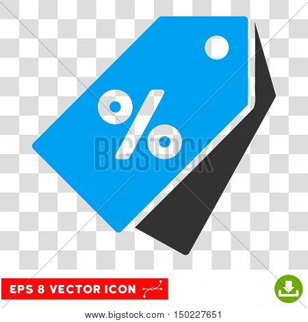 Percent Discount Tags vector icon. Image style is a flat blue and gray icon symbol.