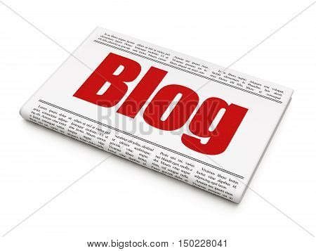 Web design concept: newspaper headline Blog on White background, 3D rendering