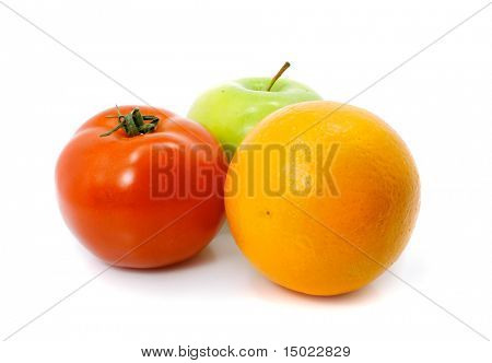 apple orange and tomato fruits with  isolated over white background