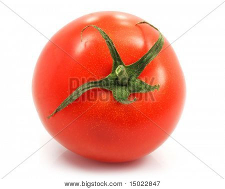fresh ripe tomato isolated on the white background