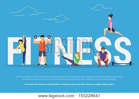 Fitness concept illustration of young people doing workout with equipment. Flat design of guys and women training near big letters fitness. Sport banner for landing page or promotion