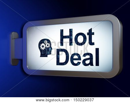 Business concept: Hot Deal and Head With Gears on advertising billboard background, 3D rendering